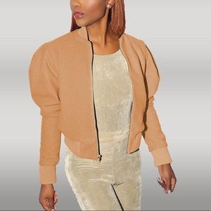 Puffed Sleeve Wool Bomber Jacket